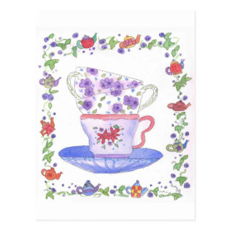 Teacup Stack Tea Time Watercolor Flowers Postcard