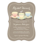 Teacup Trio Chic Bridal Shower Tea Party 13 Cm X 18 Cm Invitation Card