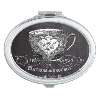 teacup vintage Chalkboard bridal shower tea party Travel Mirror