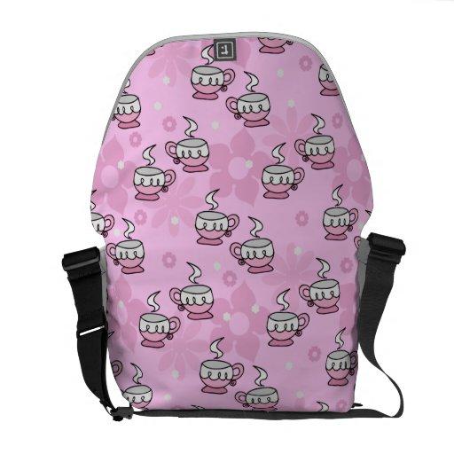 Teacups and Flower Pink Pattern Messenger Bag