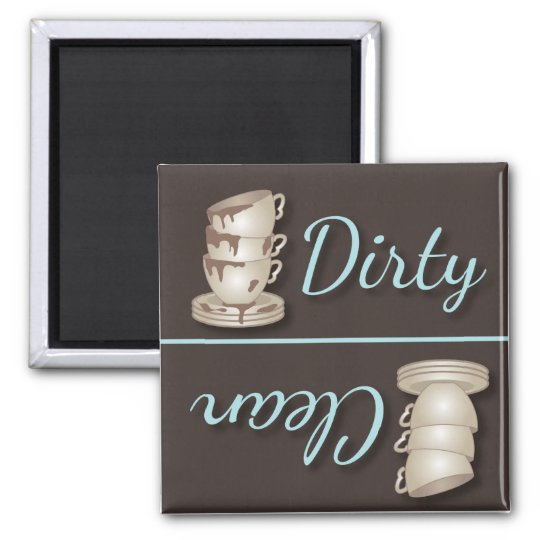 Teacups Dirty or Clean Refrigerator Magnets