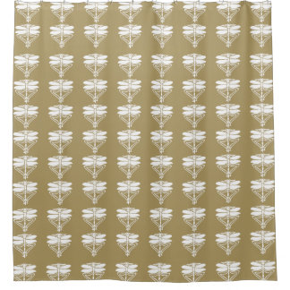 Teak Arts and Crafts Dragonflies Shower Curtain