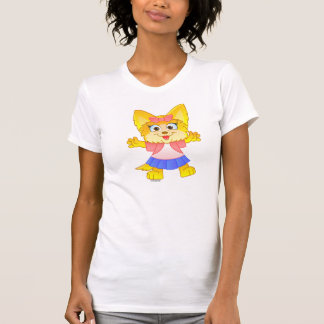 Teakup Yorkie Cartoon on Women's T-shirt