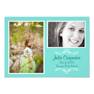 Teal 2 Photo Simple Collage - Grad Announce Card