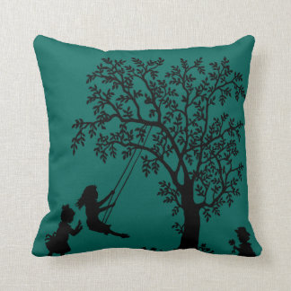 teal Abstract Tree kids playing pillow