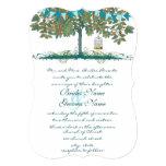 Teal and Aqua Bunting Tree Birdcage Wedding Invite 13 Cm X 18 Cm Invitation Card