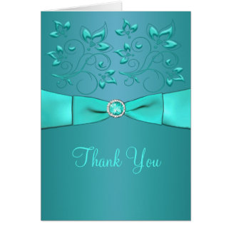 Teal and Aqua Floral II Thank You Card