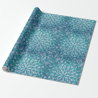 Teal and Aqua Snowflake Damask Wrapping Paper