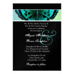 Teal and Aqua Vintage Butterfly Wedding Metallic Personalized Invitations