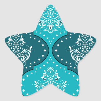 teal and aqua white henna style damask star sticker