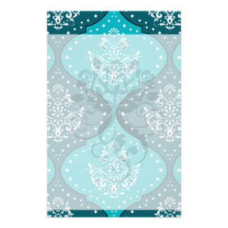 teal and aqua white henna style damask stationery paper