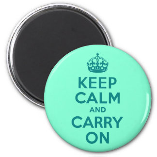 Teal and Aquamarine Keep Calm and Carry On Magnet