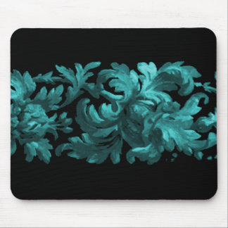 Teal and Black Acanthus Scroll Mouse Pad