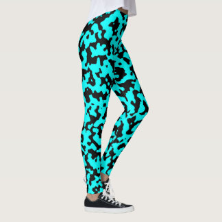 Teal and black camouflage pattern leggings