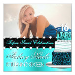 Teal and Black Chic Cake Photo Invitation