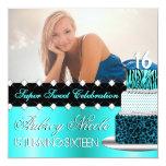 Teal and Black Chic Cake Photo Invitation 13cm X 13cm Square Invitation Card