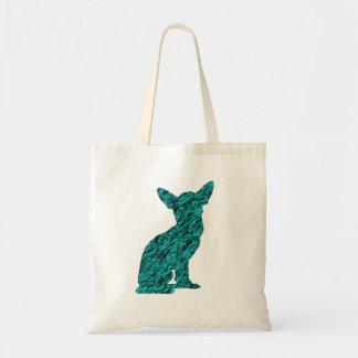 Teal And Black Chihuahua Silhouette Tote Bag