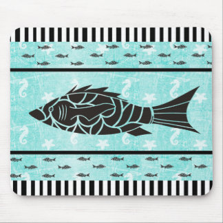 Teal and Black Fish  Seahorse Starfish Mouse Pad