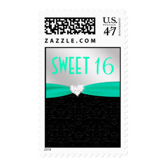 Teal and Black Floral Damask Diamond Heart Stamp