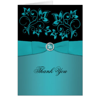 Teal and Black Floral Jewelled Thank You Card