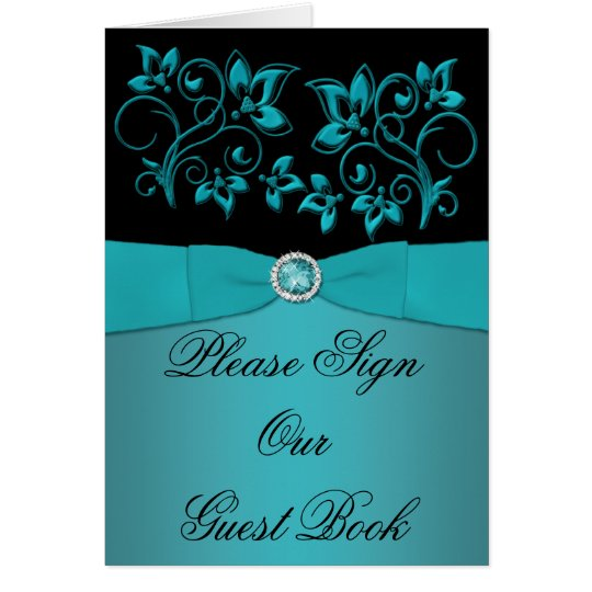 Teal and Black Floral Table Card