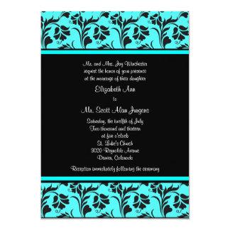 Teal and Black Floral Wedding Invitation