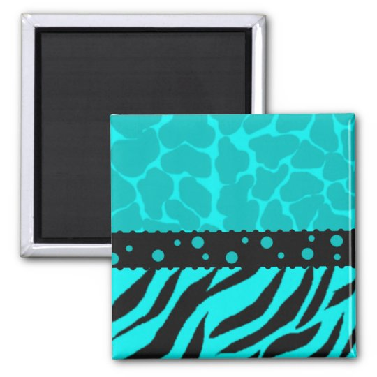 Teal and Black Giraffe Spots with Zebra Stripes Square Magnet
