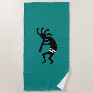 Teal And Black Kokopelli Design Beach Towel