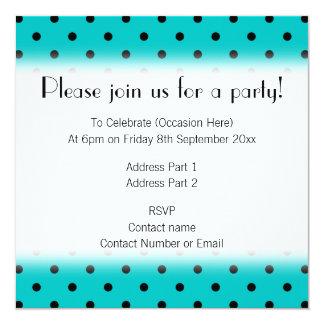 Teal and Black Polka Dot Pattern. 13 Cm X 13 Cm Square Invitation Card