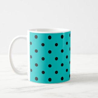 Teal and Black Polka Dot Pattern. Basic White Mug