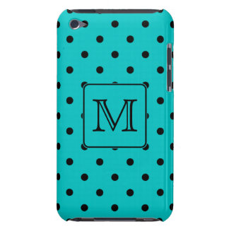 Teal and Black Polka Dot Pattern. Custom Monogram. Barely There iPod Cases