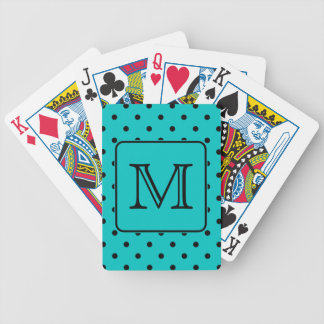 Teal and Black Polka Dot Pattern. Custom Monogram. Bicycle Playing Cards
