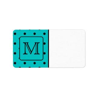 Teal and Black Polka Dot Pattern. Custom Monogram. Label