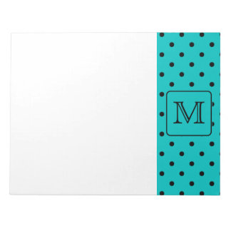 Teal and Black Polka Dot Pattern. Custom Monogram. Notepad