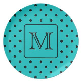 Teal and Black Polka Dot Pattern. Custom Monogram. Plate