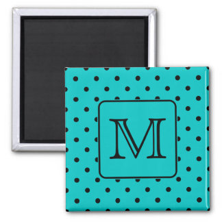 Teal and Black Polka Dot Pattern. Custom Monogram. Square Magnet