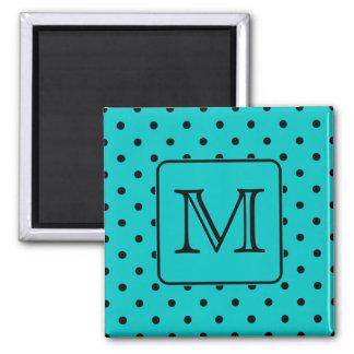 Teal and Black Polka Dot Pattern. Custom Monogram. Square Magnet