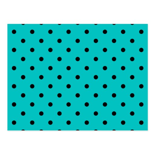 Teal and Black Polka Dot Pattern. Post Card