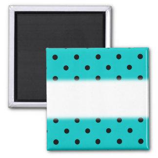 Teal and Black Polka Dot Pattern. Square Magnet