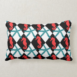 Teal and Black  Seahorse and Starfish Throw Pillow