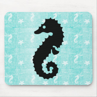 Teal and Black Seahorse Starfish Mouse Pad
