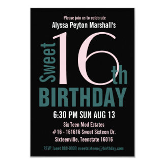 Teal and Black Sweet 16th Party 9 Cm X 13 Cm Invitation Card