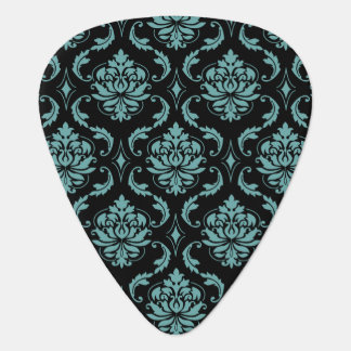 Teal and Black Vintage Damask Pattern Plectrum