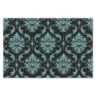 Teal and Black Vintage Damask Pattern Tissue Paper