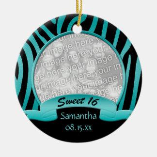 Teal and Black Zebra Sweet 16 Ornament