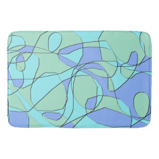 Teal and Blue Abstract Modern Bath Mat Bath Mats