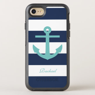 Teal and Blue Anchor and Stripes Pattern OtterBox Symmetry iPhone 7 Case