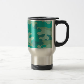 Teal and Blue Camo Travel Mug