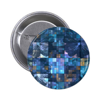 Teal and Blue Flower 6 Cm Round Badge