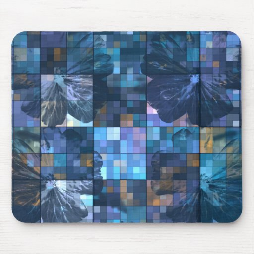Teal and Blue Flower Mouse Pads